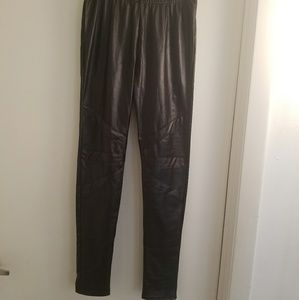 faux leather black leggings one size